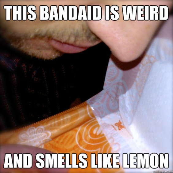 Yes, that is my husband ... another thing he did for my blog. You can make your own meme of Maxi Pad Man at http://www.quickmeme.com/meme/3st15a/